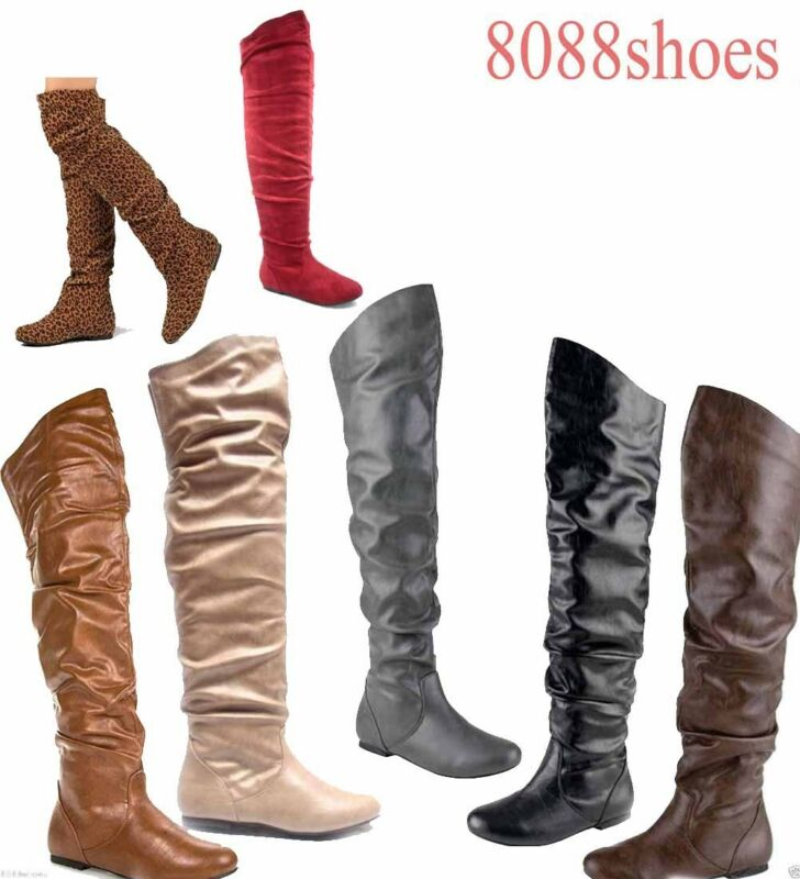 Women's Comfort Round Toe Flat Low Heel Slouchy Thigh High Boot ...