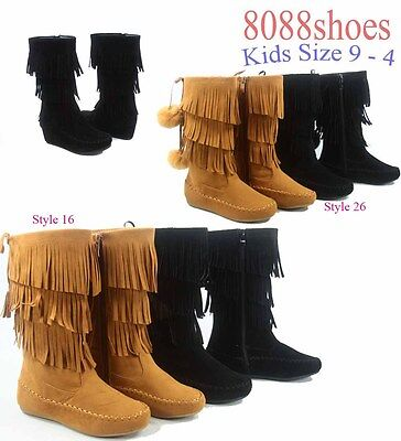 Youth Girl's Kid's Cute Fringe Flat Wedge Heel Zipper Boots Shoes Size 9 - 4 NEW