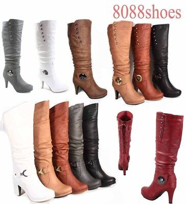 c81f867a9799 Women s Round Toe High Heel Platform Mid-Calf Knee High Boots Shoes Size 5 -