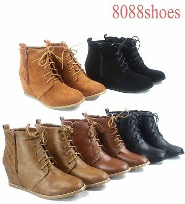 Women's  Quilted Lace Up Zipper High Top Ankle Low Wedge Booties Size 5.5 - 11 Black High Wedge