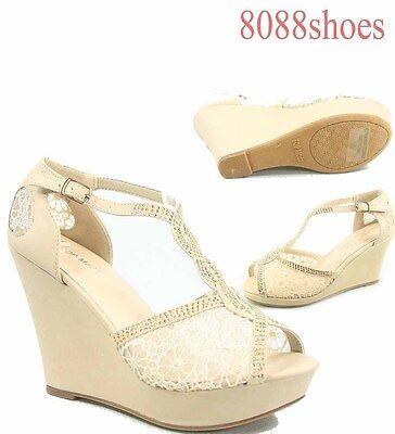 Women's Beige Bridal Lace Mesh Peep Toe Stiletto Wedge Sanda