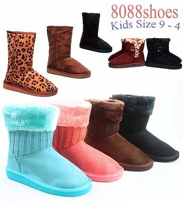 Youth Girl Kid's Winter Causal Flat Heel Faux Fur Round Toe Boot  Size 9 -4 NEW