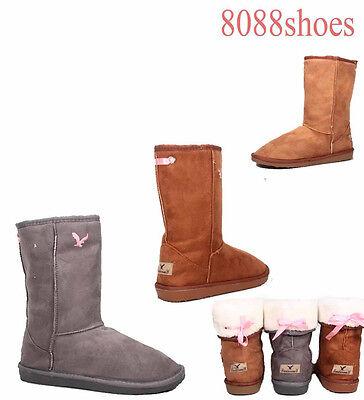 (Women's Flat Heel Round Toe Faux Fur Mid Calf Winter Boots Grey Camel Size 6 & 8)