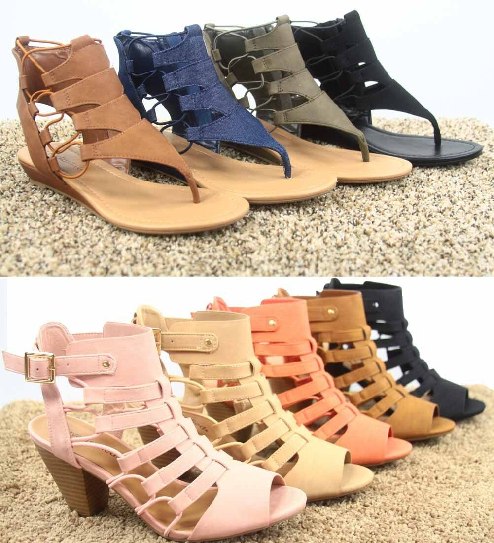 Women's Open Toe Strappy Gladiator Heel Low Wedge Sandal Sho
