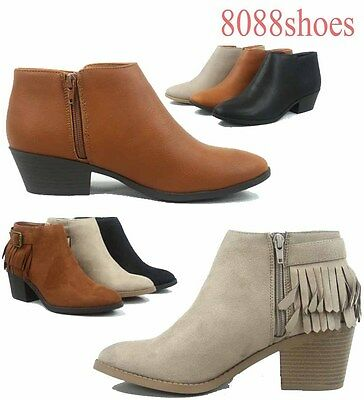 Women's Fashion Fringe Silp On Zip Low Heel Ankle Booties Shoes Size 6 - 11 NEW - Low Heel Bootie