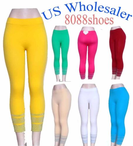 Wholesale Lots of Womens One Size Slim Stretch Footless Lurex Legging NEW 10 PC