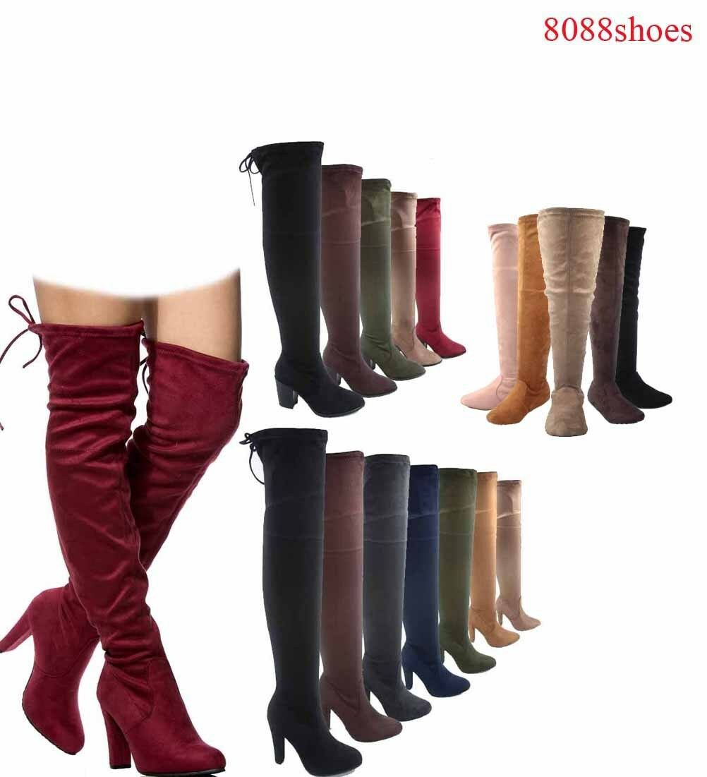 Women's Pull Up Almond Toe Over The Knee Flat High Heel Boot