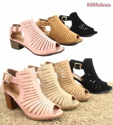 Women's Open Toe Ankle Strap Buckle Chunky Heel Booties Sandal Shoes size 6 - 10 Black Open Toe Ankle Strap