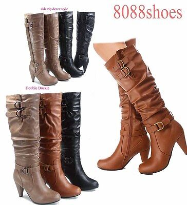 Stylish High Heel Boots (Stylish Chunky Heel Knee High Zipper Dress Boots Women's Shoes Size 5 - 10)