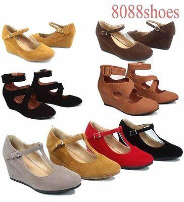 Women's  Round Toe T-Strap Strappy Low Wedge Platform Heel Shoe  Size 5 - 10 -