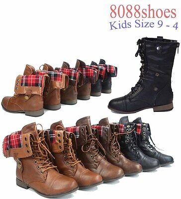 Girl Combat Boot (Girl's Kid's Plaid Fold Cuffed Low Heel Combat Lace Up Military Boot Size 9 -)