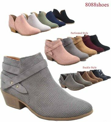 Soda Women Causal Low Heel Almond Toe Zipper Ankle Booties Shoes Size 5.5-11 NEW - Low Heel Bootie