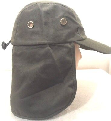 (NECK COVER FLAP SUN PROTECTION HAT DARK OLIVE GREEN FISHING HUNTING HIKING)