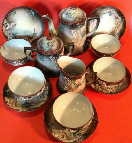 Imperial Nippon DragonWare Tea Set - Teapot Sugar Creamer - 5 CS Sets - Japan