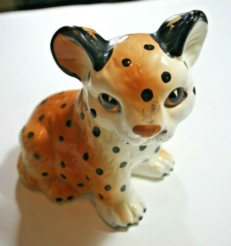 """Cute Vintage Porcelain Ceramic Hand Painted Leopard Cub, made in Japan 6.5"""" Tall"""