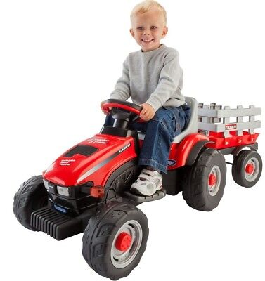 Kids Ride On Electric Tractor With Trailer  Vehicle Farming Toddler Toy Red New
