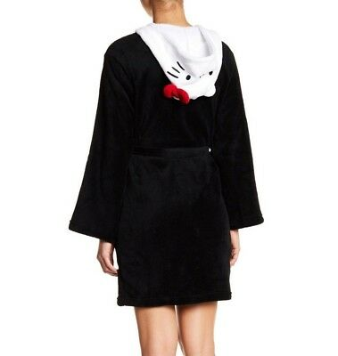 NEW Hello Kitty Large Womens Black Robe with White Hello Kitty Character Hood