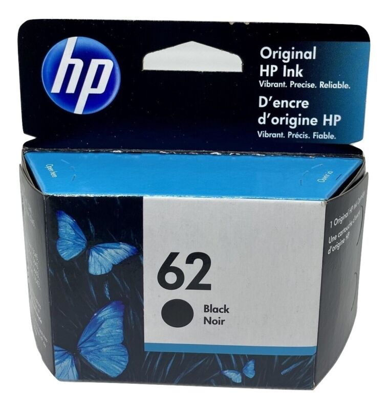 HP 62 Ink Cartridge Black NEW Genuine Mid to late 2021