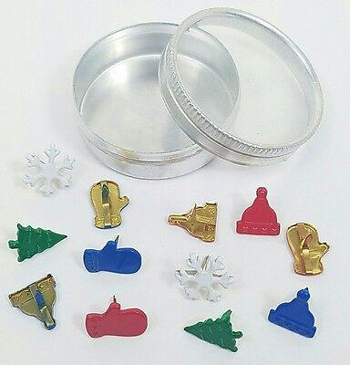 Scrapbooking Brads Holiday Winter Snowflakes Christmas Trees Bonus Tin Stamping