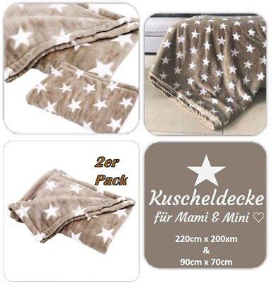 2er Pack Set Kuscheldecke Stern 220x200 cm & 90x70cm Babydecke Decken Decke Baby