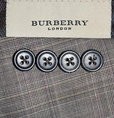 44L Burberry London Gray Taupe Prince of Wales Dual Vent SUIT Pleated 35 LNWOT