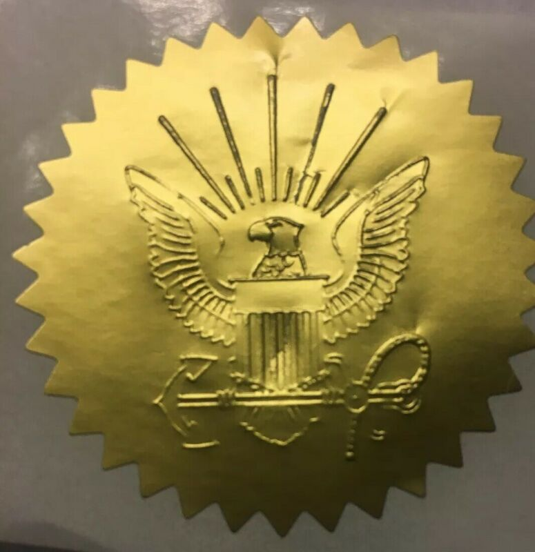 "(10) U. S. NAVY (2"")Gold Embossed Certificate Seals- Enhances Your Certificates!"