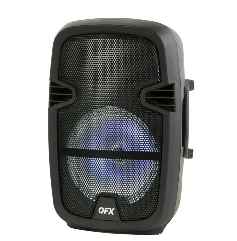 New, QFX 8-in Portable Party Bluetooth PA Loudspeaker with Microphone & Remote.