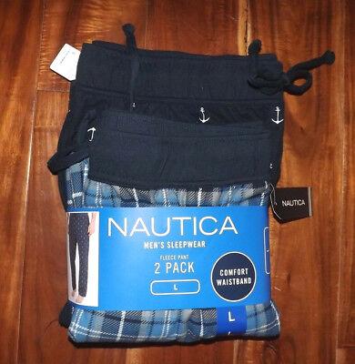 NWT Mens NAUTICA Sleepwear 2pk Navy White Plaid Anchor Flannel Pajama Pants M