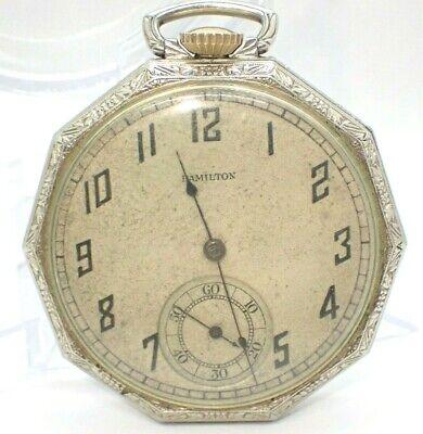 Vintage 1929 HAMILTON 17 Jewel Mechanical Wind Pocket Watch 912 runs 14 K GF 12s