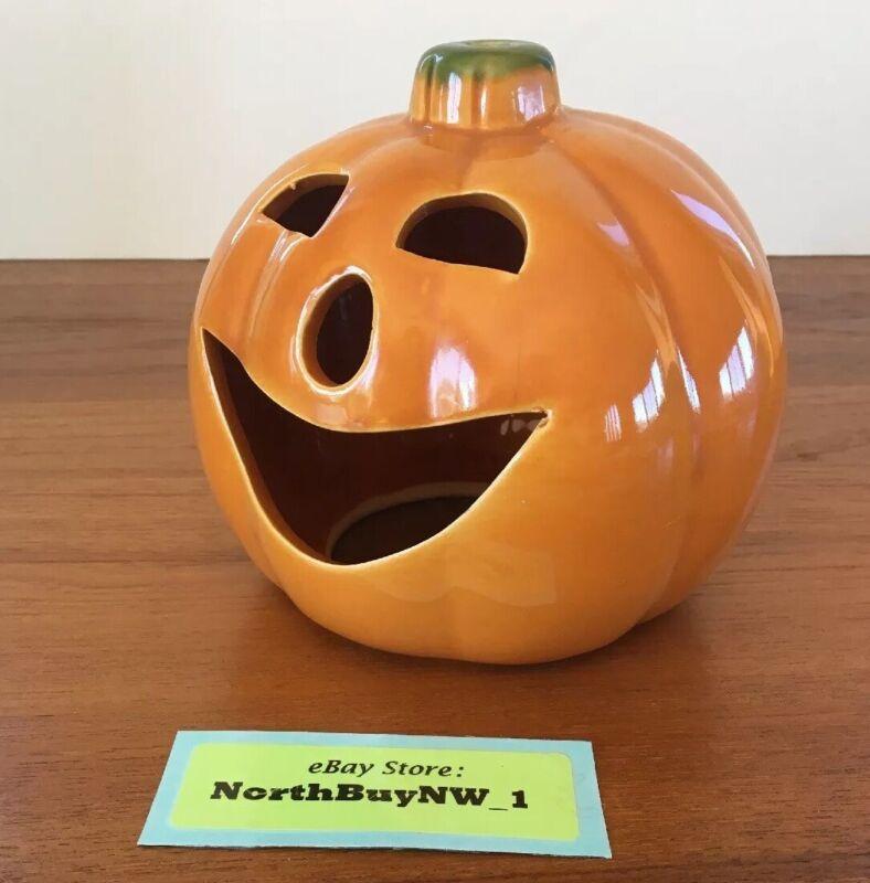 VINTAGE UPCO USA Pottery Light JACK-O-LANTERN Pumpkin JOL Halloween Ceramic