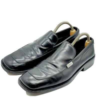 VINTAGE MENS GUCCI BLACK PATENT LEATHER LOAFERS SIZE 9D DRESS UP SHOES