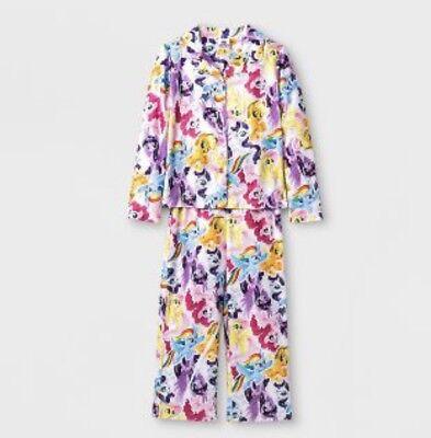 Girls MY LITTLE PONY THE MOVIE Pajama Coat Set Flannel S 6-6X Nwt Vibrant! (My Little Pony Pjs)