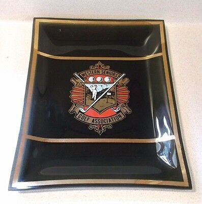 Vintage black glass Western Seniors Golf Association plate/shallow dish gold