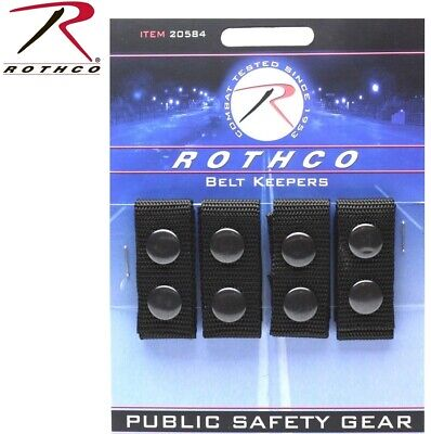 Police Security Tactical Black Enhanced Belt Keepers 4 Piece Set Rothco 20584