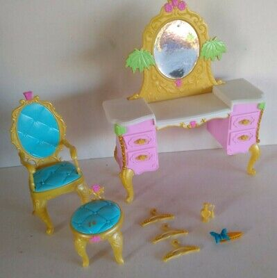 Mattell Princess Vanity Doll House Furniture Palm Tree Pink Gold Desk Chair Otto