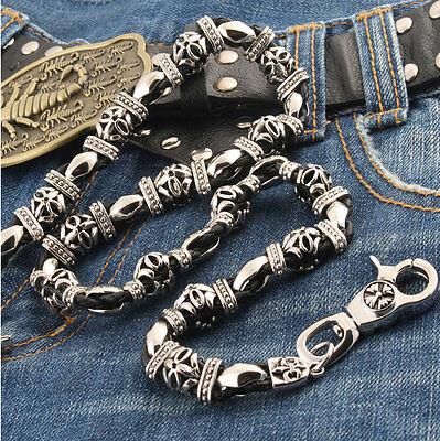 """DK 2 Ring Biker Trucker Keychain Key Jean Wallet Chain Black CS127 26.5/"""""""