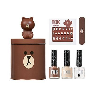 TOK x Line Friends Collaboration Brown Nail Art Pedicure Kit Sticker Case DIY