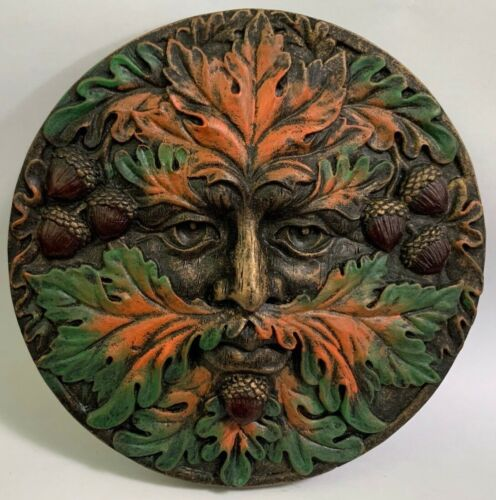 """Green Man Autumn Round Wall Plaque 5.25"""" Fall Season Horned God Greenman Wiccan"""