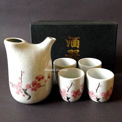 5 PCS. Japanese Porcelain Sake Bottle & Cups Set, Snow Cherry Blossom Plum Tree Cherry Blossom Sake Set