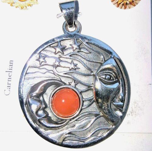 Carnelian Celestial Sun & Moon Sterling Silver Pendant