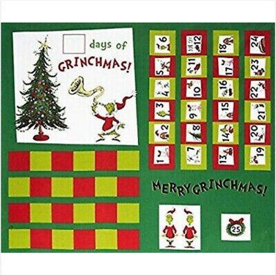 "Dr Seuss ""How The Grinch Stole Christmas"" Advent Calendar Fabric Panel Cotton RK"