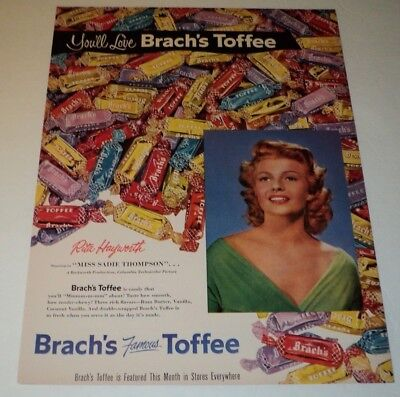 VINTAGE 1953 BRACH'S TOFFEE AD  RITA HAYWORTH