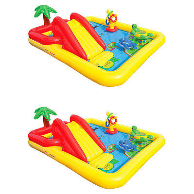 Intex Inflatable Bounding main Underline Center Kids Backyard Swimming Pool + Games (2 Squeeze)