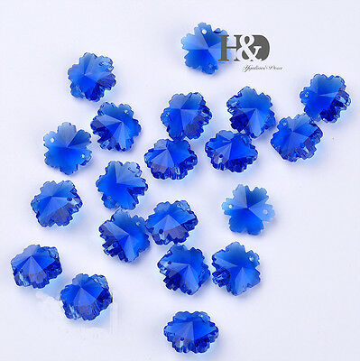 50 PCS Royal Blue Snowflakes Crystal Chandelier Prisms Beads DIY XMAS Decor 14mm - Blue Snowflakes Decorations