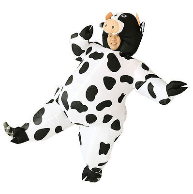 2018 Adult Inflatable Cow mascot Costume Air Blowup Fancy Dress Christmas Outfi - Cow Blow Up Costume