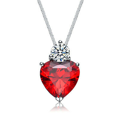 Women 925 Sterling Silver Heart with Crystal 14K White Gold Pendant Necklace Fashion Jewelry