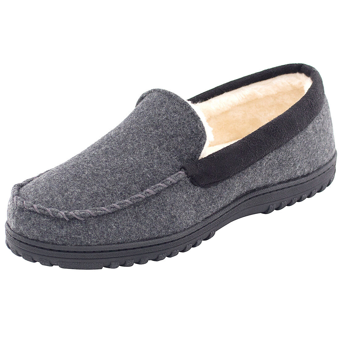 1a4aff45471f16 Details about Men's Comfy & Warm Wool Micro Suede Plush Fleece Lined Moccasin  Slippers Hous.