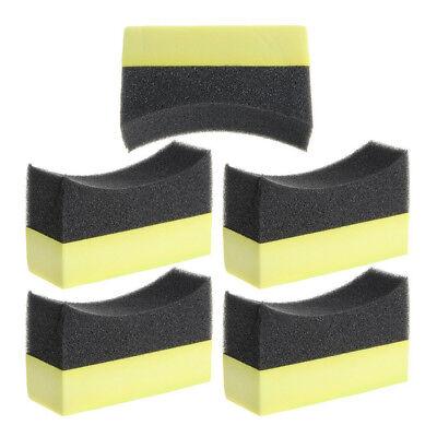 5x Car Wheel Washer Tyre Tire Dressing Applicator Curved Foam Sponge Pad E9 M9N9 ()