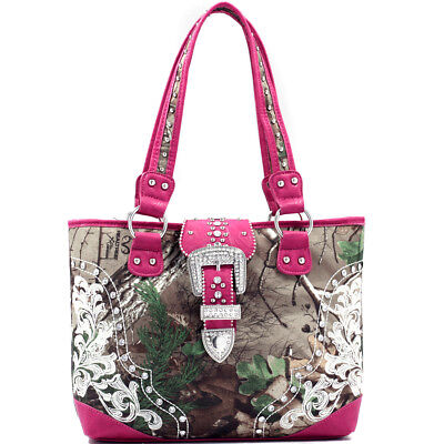 Realtree® Womens Handbags Camouflage Shoulder Bag Tote Rhinestone Large Purse Camouflage Canvas Shoulder Bag
