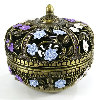 Pb-004 Purple Eastern Inspired Decorative Enamel Jewelry Trinket Box Container